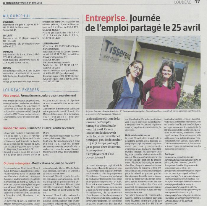 Article-LeTelegramme-Loudeac-19avril2019